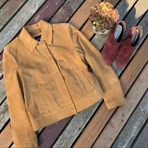 Bernardo Suede Leather Camel Tan Button Jacket